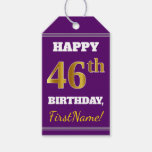 [ Thumbnail: Purple, Faux Gold 46th Birthday + Custom Name Gift Tags ]