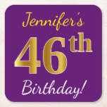 [ Thumbnail: Purple, Faux Gold 46th Birthday + Custom Name Paper Coaster ]