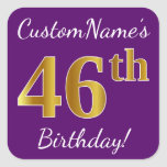 [ Thumbnail: Purple, Faux Gold 46th Birthday + Custom Name Sticker ]