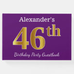 [ Thumbnail: Purple, Faux Gold 46th Birthday Party; Custom Name Guest Book ]