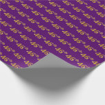 [ Thumbnail: Purple, Faux Gold 46th (Forty-Sixth) Event Wrapping Paper ]