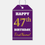 [ Thumbnail: Purple, Faux Gold 47th Birthday + Custom Name Gift Tags ]