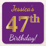 [ Thumbnail: Purple, Faux Gold 47th Birthday + Custom Name Paper Coaster ]