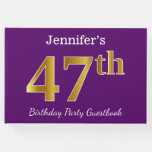 [ Thumbnail: Purple, Faux Gold 47th Birthday Party; Custom Name Guest Book ]