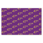 [ Thumbnail: Purple, Faux Gold 47th (Forty-Seventh) Event Tissue Paper ]