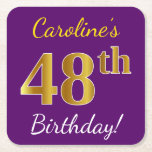 [ Thumbnail: Purple, Faux Gold 48th Birthday + Custom Name Paper Coaster ]