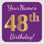 [ Thumbnail: Purple, Faux Gold 48th Birthday + Custom Name Sticker ]
