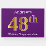 [ Thumbnail: Purple, Faux Gold 48th Birthday Party; Custom Name Guest Book ]