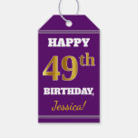 [ Thumbnail: Purple, Faux Gold 49th Birthday + Custom Name Gift Tags ]