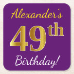 [ Thumbnail: Purple, Faux Gold 49th Birthday + Custom Name Paper Coaster ]