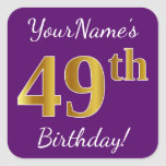 [ Thumbnail: Purple, Faux Gold 49th Birthday + Custom Name Sticker ]