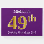 [ Thumbnail: Purple, Faux Gold 49th Birthday Party; Custom Name Guest Book ]