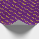 [ Thumbnail: Purple, Faux Gold 49th (Forty-Ninth) Event Wrapping Paper ]
