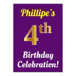 [ Thumbnail: Purple, Faux Gold 4th Birthday Celebration + Name Invitation ]
