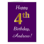 [ Thumbnail: Purple, Faux Gold 4th Birthday + Custom Name ]