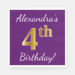 [ Thumbnail: Purple, Faux Gold 4th Birthday + Custom Name Paper Napkin ]