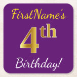 [ Thumbnail: Purple, Faux Gold 4th Birthday + Custom Name Paper Coaster ]