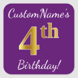 [ Thumbnail: Purple, Faux Gold 4th Birthday + Custom Name Sticker ]