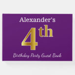 [ Thumbnail: Purple, Faux Gold 4th Birthday Party + Custom Name Guest Book ]