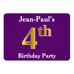 [ Thumbnail: Purple, Faux Gold 4th Birthday Party + Custom Name Invitation ]