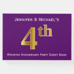 [ Thumbnail: Purple, Faux Gold 4th Wedding Anniversary Party Guest Book ]