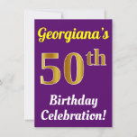 [ Thumbnail: Purple, Faux Gold 50th Birthday Celebration + Name Invitation ]