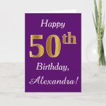 [ Thumbnail: Purple, Faux Gold 50th Birthday + Custom Name Card ]