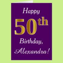 Purple, Faux Gold 50th Birthday   Custom Name Card