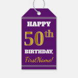 [ Thumbnail: Purple, Faux Gold 50th Birthday + Custom Name Gift Tags ]