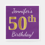 [ Thumbnail: Purple, Faux Gold 50th Birthday + Custom Name Napkin ]