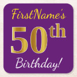 [ Thumbnail: Purple, Faux Gold 50th Birthday + Custom Name Paper Coaster ]