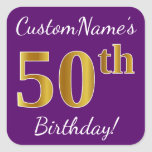[ Thumbnail: Purple, Faux Gold 50th Birthday + Custom Name Sticker ]