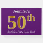 [ Thumbnail: Purple, Faux Gold 50th Birthday Party; Custom Name Guest Book ]