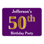 [ Thumbnail: Purple, Faux Gold 50th Birthday Party; Custom Name Invitation ]
