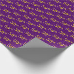 [ Thumbnail: Purple, Faux Gold 50th (Fiftieth) Event Wrapping Paper ]