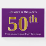 [ Thumbnail: Purple, Faux Gold 50th Wedding Anniversary Party Guest Book ]