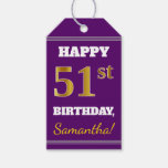 [ Thumbnail: Purple, Faux Gold 51st Birthday + Custom Name Gift Tags ]