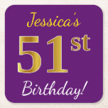 [ Thumbnail: Purple, Faux Gold 51st Birthday + Custom Name Paper Coaster ]