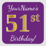 [ Thumbnail: Purple, Faux Gold 51st Birthday + Custom Name Sticker ]