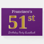 [ Thumbnail: Purple, Faux Gold 51st Birthday Party; Custom Name Guest Book ]