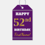 [ Thumbnail: Purple, Faux Gold 52nd Birthday + Custom Name Gift Tags ]
