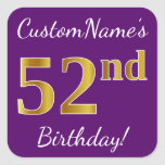 [ Thumbnail: Purple, Faux Gold 52nd Birthday + Custom Name Sticker ]