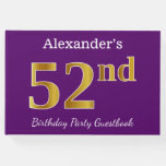 [ Thumbnail: Purple, Faux Gold 52nd Birthday Party; Custom Name Guest Book ]