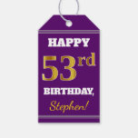 [ Thumbnail: Purple, Faux Gold 53rd Birthday + Custom Name Gift Tags ]