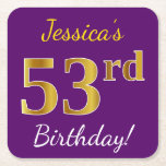 [ Thumbnail: Purple, Faux Gold 53rd Birthday + Custom Name Paper Coaster ]