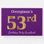 [ Thumbnail: Purple, Faux Gold 53rd Birthday Party; Custom Name Guest Book ]