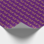 [ Thumbnail: Purple, Faux Gold 53rd (Fifty-Third) Event Wrapping Paper ]