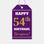 [ Thumbnail: Purple, Faux Gold 54th Birthday + Custom Name Gift Tags ]