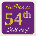 [ Thumbnail: Purple, Faux Gold 54th Birthday + Custom Name Paper Coaster ]