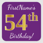 [ Thumbnail: Purple, Faux Gold 54th Birthday + Custom Name Sticker ]